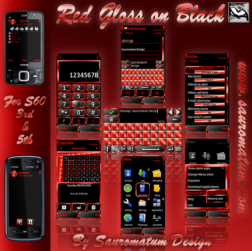 Product picture Symbian Theme: Red Gloss on Black